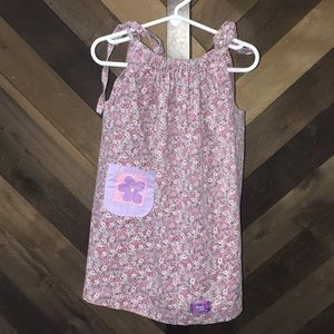 Toddler kids flower purple dress with pocket